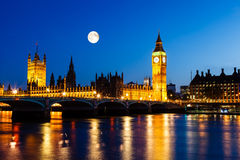 Full Moon above Big Ben and House of Parliament Royalty Free Stock Photo