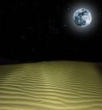 Full moon above night sand desrt Stock Photography