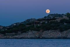 Full Moon Above Portisco Sardinia Royalty Free Stock Photography