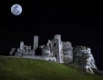 Full moon above ruins of castle. Royalty Free Stock Image