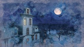 Full moon above scary mansion watercolor sketch royalty free illustration