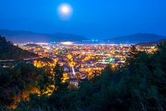 Full moon above the spa town Royalty Free Stock Photos
