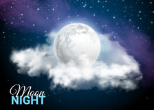 Full Moon Against the background of the Milky Way Mystical Sky. Full Moon Against the background of the Milky Way. Mystical Sky Moonlight night. Clouds and stars vector illustration