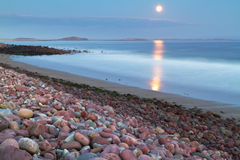 Full moon at the atlantic ocean Stock Image