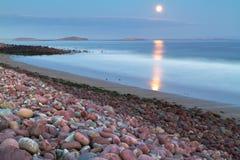 Full moon at the atlantic ocean Stock Image