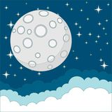 Full moon on background of the night sky, vector Stock Photos