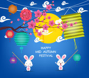 Full moon background for traditional of Chinese Mid Autumn Festival or Lantern Festival Royalty Free Stock Images
