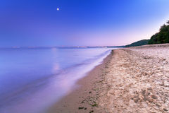 Full moon at Baltic sea beach Stock Photography