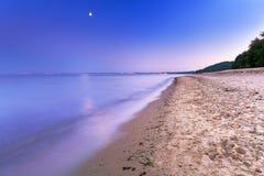 Full moon at Baltic sea beach Stock Photography