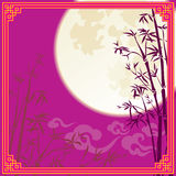 Full moon and bamboo silhouette design Stock Photos