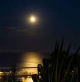 Full moon in Barcelona. Full moon on the 20 June 2016, the first full moon to fall on the June solstice since the year 1967. The photo was taken in Barcelona Royalty Free Stock Photography