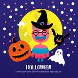 Full moon, bat, cute monster, evil pumpkin, ghosts for Halloween party. stock illustration