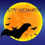 Full moon and bat on halloween night Stock Photo