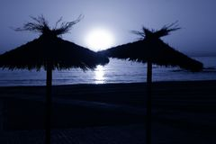 Full moon on the beach. royalty free stock photo