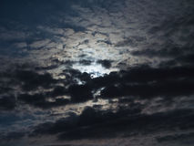Full moon behind clouds Royalty Free Stock Images