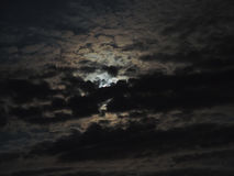 Full moon behind clouds Royalty Free Stock Photos