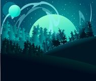 Free Full Moon Being Absorbed Into The Fog Of Other Planets. Forest Under A Planet And Northern Lights. Flat Illustration Of A Landcape Royalty Free Stock Photo - 160650985