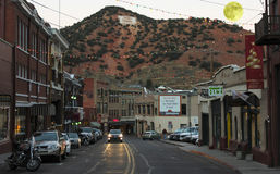 A Full Moon in Bisbee During the Holidays Stock Photo