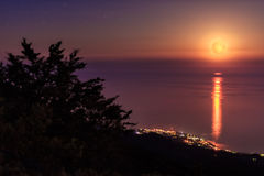 Full moon at the Black sea, Crimea, Ukraine Royalty Free Stock Image