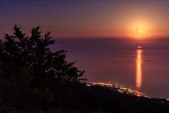 Full moon at the Black sea, Crimea, Ukraine Royalty Free Stock Image