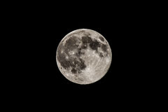 Full moon in black sky, detailed view Royalty Free Stock Photography