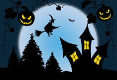 Full moon blue halloween night with witch - Illustration Stock Images