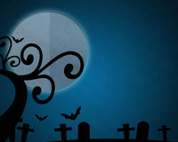 Full moon blue Night in Halloween day at graveyard. Stock Photo