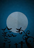 Full moon blue Night in Halloween day at graveyard. Royalty Free Stock Images