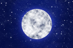 Full moon on blue night sky with stars Royalty Free Stock Photos