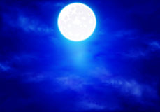 Full moon in the blue sky Stock Images