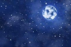 Full moon on blue starry night sky with nebula. Bright moon on blue starry night sky with nebula, illustration stock illustration