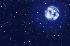 Full moon on blue starry night sky. Shiny full moon on blue starry night sky illustration Royalty Free Stock Image