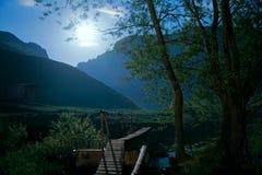 Full moon and bridge Stock Photo