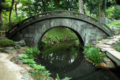 Full moon bridge. Beautiful stone brigde in traditional japanese garden Stock Photos