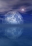 Full Moon Bright Star Over Sea. 3D Illustration of a full Moon and Star Over Sea Stock Photo
