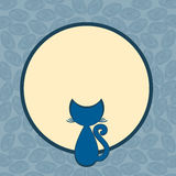 Full Moon Card Invitation Card. Square invitation or greeting card with a cat on the moon. Space to write message on the moon Stock Photos