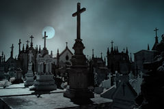 Full moon cemetery Royalty Free Stock Image