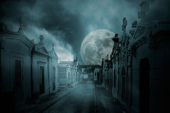 Full moon cemetery Stock Photos