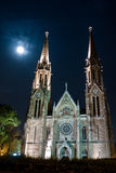 Full moon Church of Budapest Stock Photography
