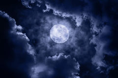Full Moon. With cloud at night Royalty Free Stock Photo
