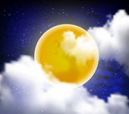 Full moon with clouds at night starry sky Royalty Free Stock Images