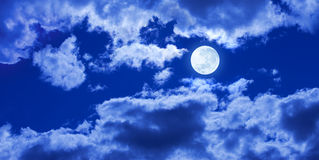Full Moon Night Clouds Sky Banner Background
