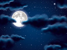 Full moon and clouds. Vector full moon and clouds stock illustration