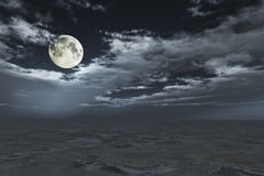 Full moon in cloudscape Stock Photo
