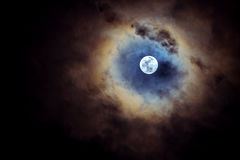 Full moon on cloudy day. Royalty Free Stock Images