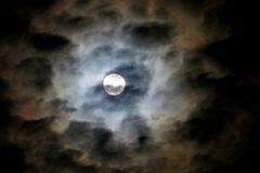 full moon in cloudy sky 3 Stock Photo