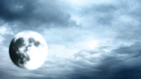 Full moon on cloudy sky stock video