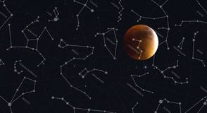 Full moon and constellations of the northern hemisphere. Illustration of Full moon and constellations of the northern hemisphere stock illustration