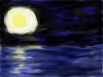 Full moon, dark sky, and wild sea vector illustration