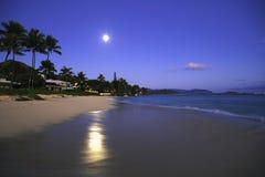 Full moon at daybreak. On Lanikai Beach, Hawaii stock photos